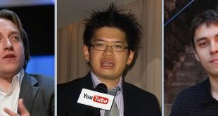 Fondatorii YouTube, de la stânga la dreapta: Chad Hurley, Steve Chen, și Jawed Karim - sursă: Wikipedia