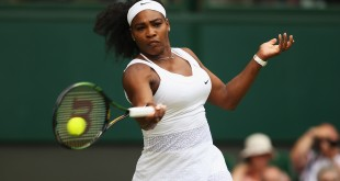 LONDON, ENGLAND - JULY 07:  Serena Williams of the United States serves in her Ladies Singles Quarter Final match against Victoria Azarenka of Belarus during day eight of the Wimbledon Lawn Tennis Championships at the All England Lawn Tennis and Croquet Club on July 7, 2015 in London, England.  (Photo by Ian Walton/Getty Images)
