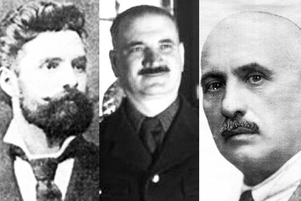 De la stânga la dreapta, trei dintre reprezentanţii de seamă ai Hunedoarei la Alba Iulia: Francisc Hossu-Longin, Silviu Dragomir şi Aurel Vlad