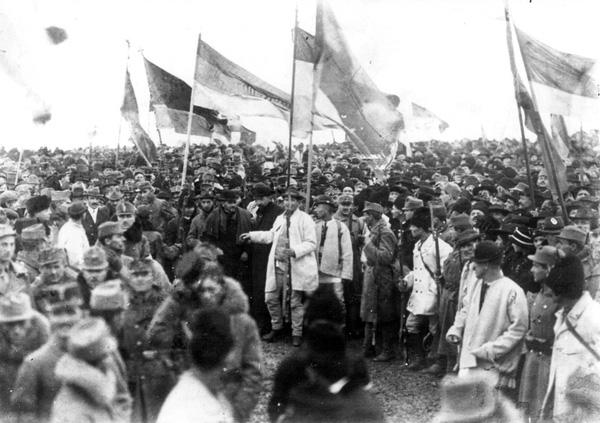 """Drapelurile prezente în cea mai cunoscută fotografie de la Alba Iulia erau, de fapt, cele ale Transilvaniei (albastru – roşu – galben dispuse pe orizontală), propaganda comunistă falsificând apoi imaginea în momentul """"colorării"""" ei, schimbând ordinea culorilor în roşu – galben - albastru (de sus în jos)"""