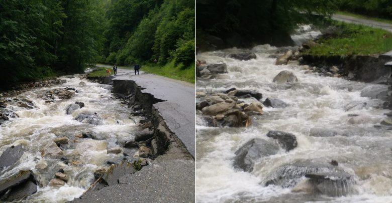 Au fost de ajuns câteva ore de ploaie abundentă pentru ca Râuşorul să devină un torent puternic şi să rupă drumul în mai multe locuri
