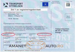 Pe talonul statului suedez sunt prevăzute două rubrici pentru numerele de înmatriculare: A1 – unde este trecut numărul valabil și în alte state, A2 – unde este trecut numărul preferențial