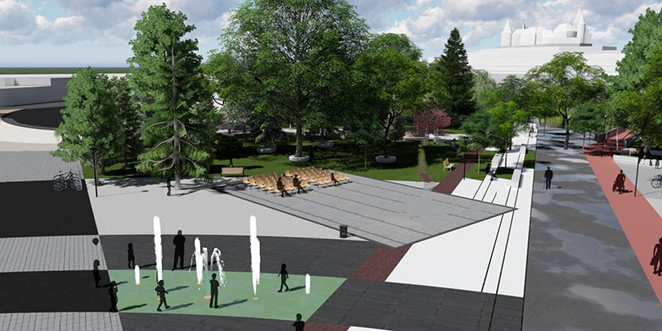 Parcul Eliberării în varianta propusă de edilii Hunedoarei – imagine conceptuală prezentată de Primăria oraşului