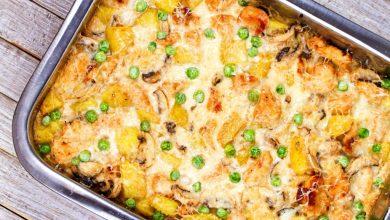 Photo of Caserolă de pui, ciuperci și cartofi în sos cremos
