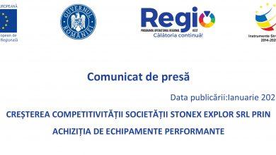 Photo of Comunicat de presă: CREȘTEREA COMPETITIVITĂȚII SOCIETĂȚII STONEX EXPLOR SRL PRIN ACHIZIȚIA DE ECHIPAMENTE PERFORMANTE